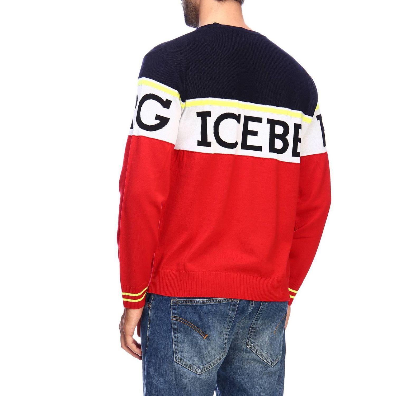 Pullover Iceberg a girocollo in lana con logo jacquard e banda color block rosso 3
