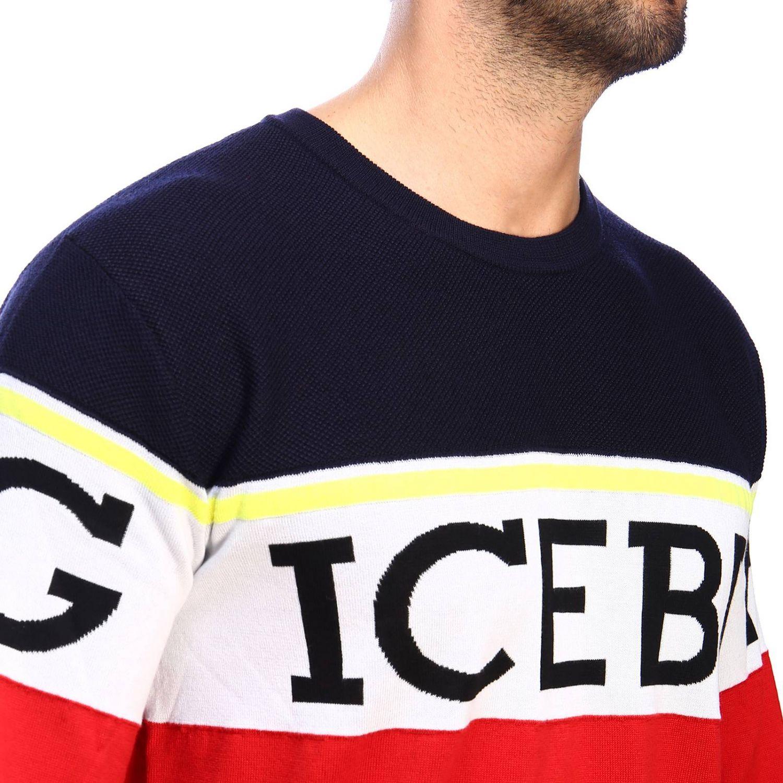 Pullover Iceberg a girocollo in lana con logo jacquard e banda color block rosso 4