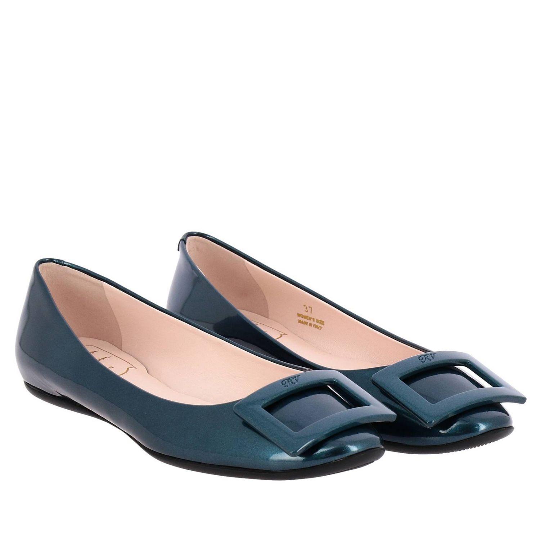 Roger Vivier金属感漆皮RV塑料扣Gommette芭蕾舞鞋 蓝色 2