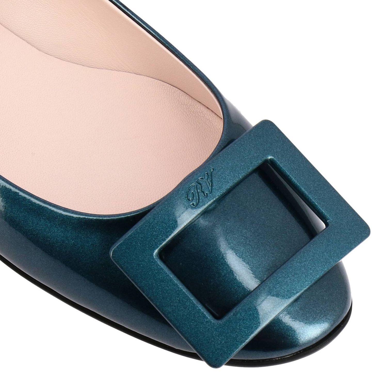 Roger Vivier金属感漆皮RV塑料扣Gommette芭蕾舞鞋 蓝色 3