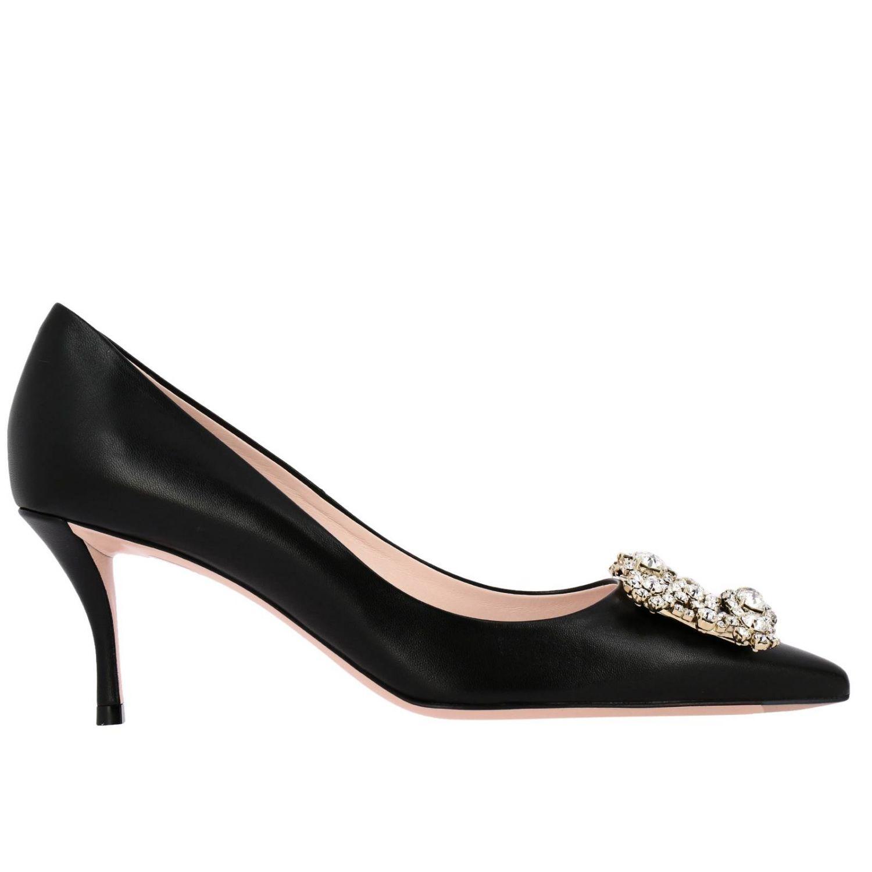 Roger Vivier zapatos de salón de piel con hebilla de flores y cristales negro 1