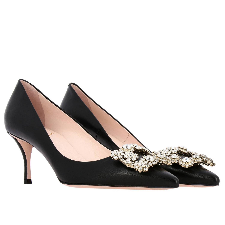 Roger Vivier zapatos de salón de piel con hebilla de flores y cristales negro 2