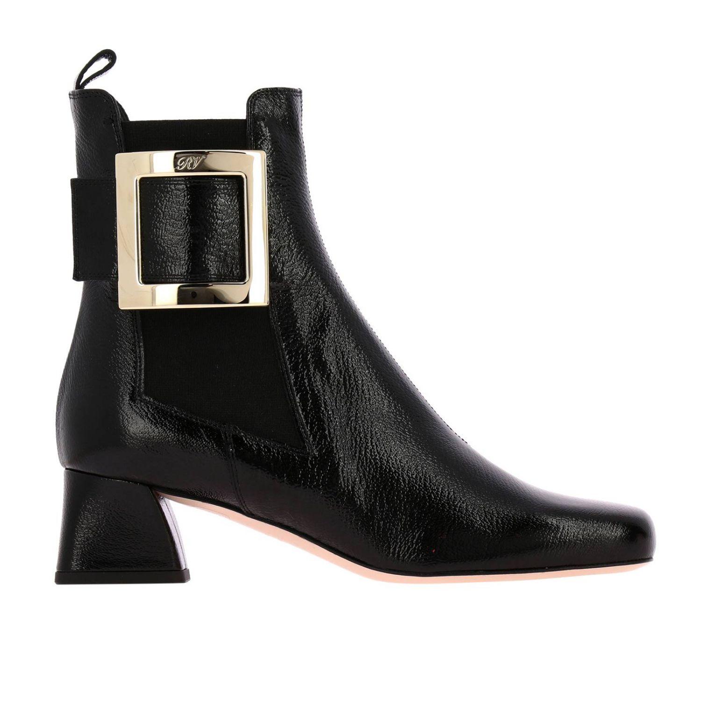 Tres Roger Vivier Stiefel mit Metallschnalle aus Lackleder schwarz 1