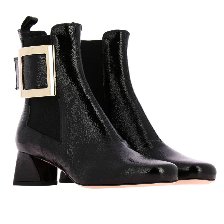 Tres Roger Vivier Stiefel mit Metallschnalle aus Lackleder schwarz 2
