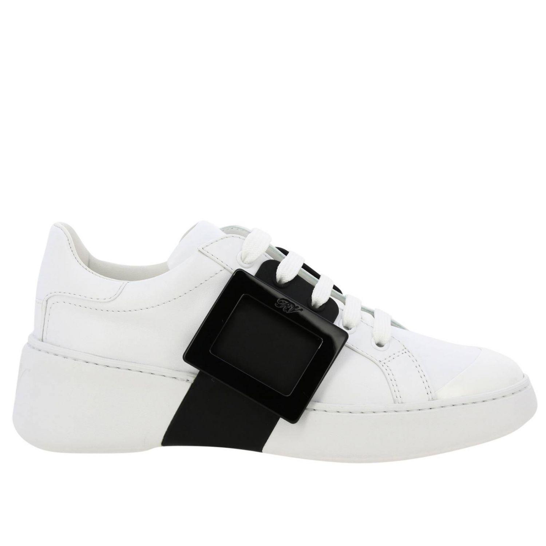 Спортивная обувь Roger Vivier: Кроссовки Viv' skate Roger Vivier из кожи с макси-пряжкой белый 1