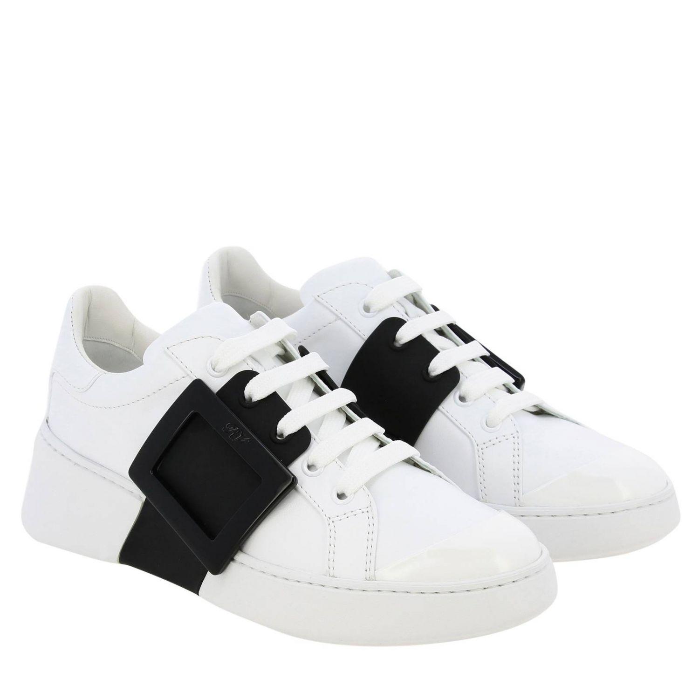 Спортивная обувь Roger Vivier: Кроссовки Viv' skate Roger Vivier из кожи с макси-пряжкой белый 2