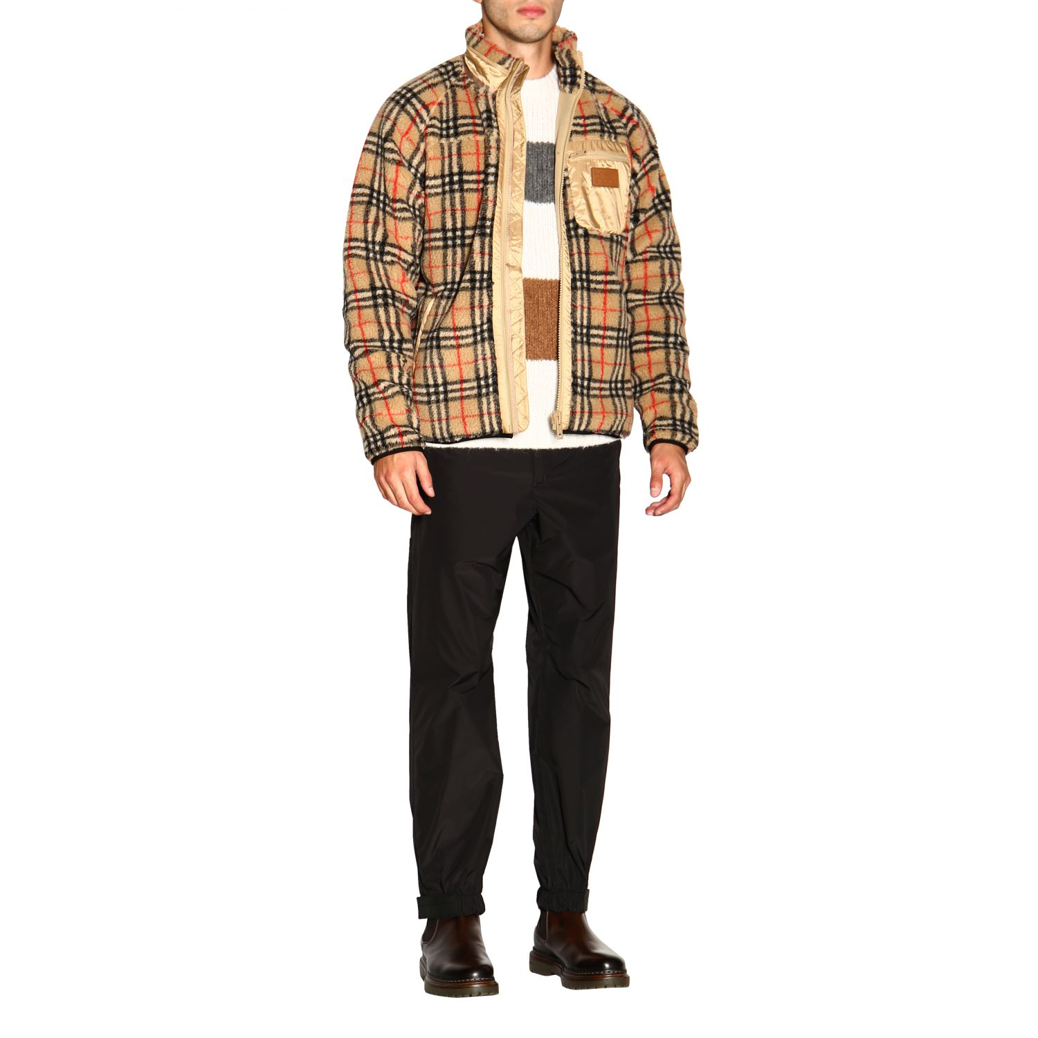 Giacca Burberry: Bomber Burberry in orsetto check beige 2