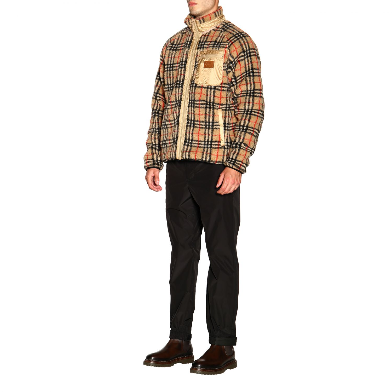 Giacca Burberry: Bomber Burberry in orsetto check beige 4