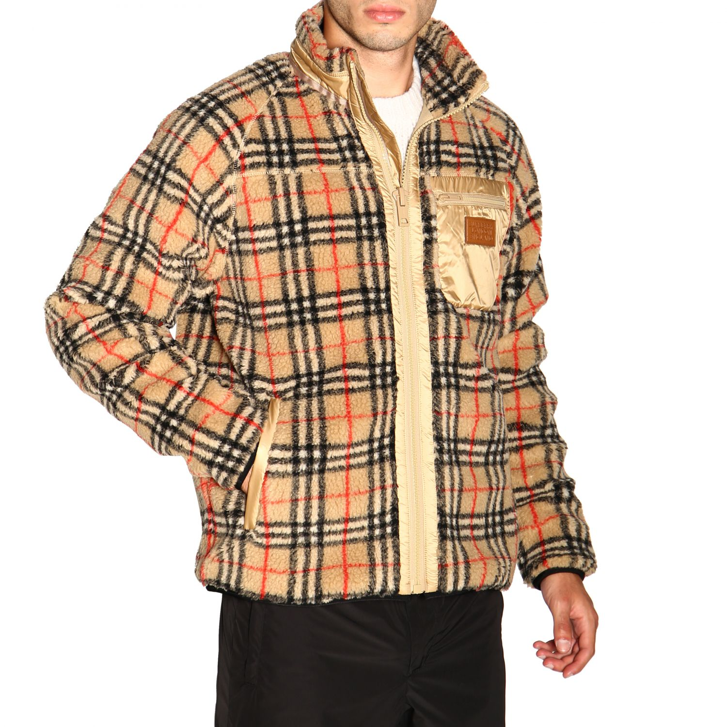 Giacca Burberry: Bomber Burberry in orsetto check beige 5