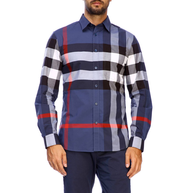Camicia slim macro check Burberry blue 1