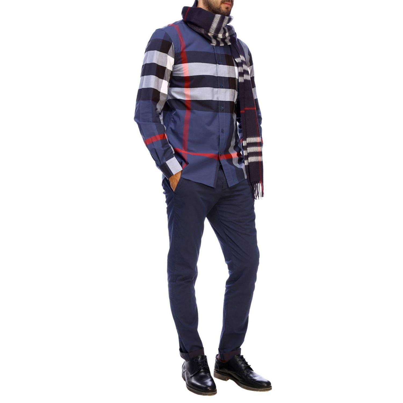 Camicia slim macro check Burberry blue 2