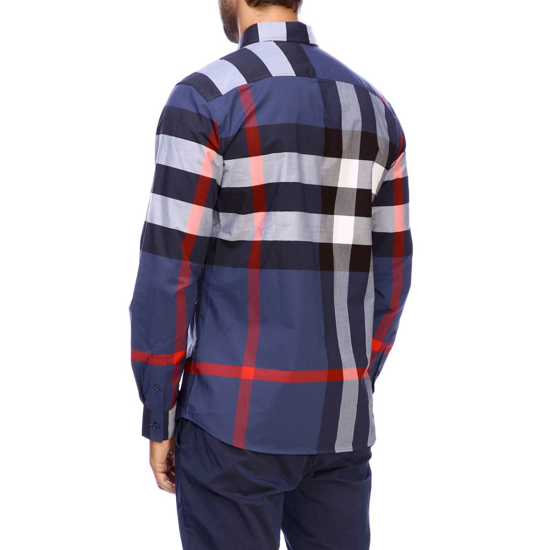 Camicia slim macro check Burberry blue 3