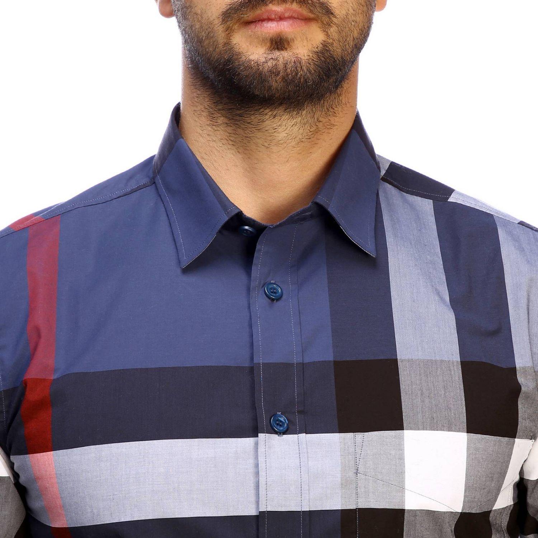 Camicia slim macro check Burberry blue 4
