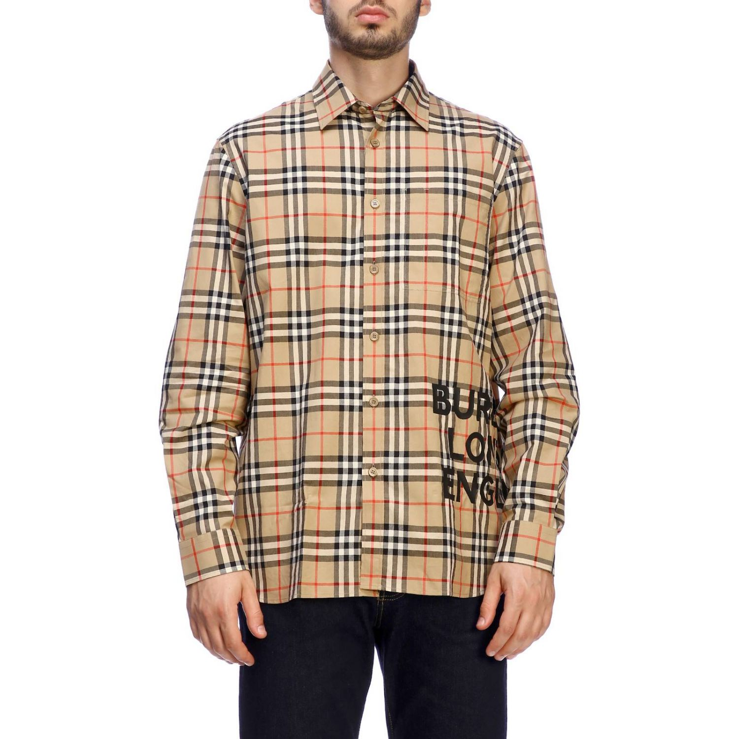 Burberry check shirt with logo print beige 1