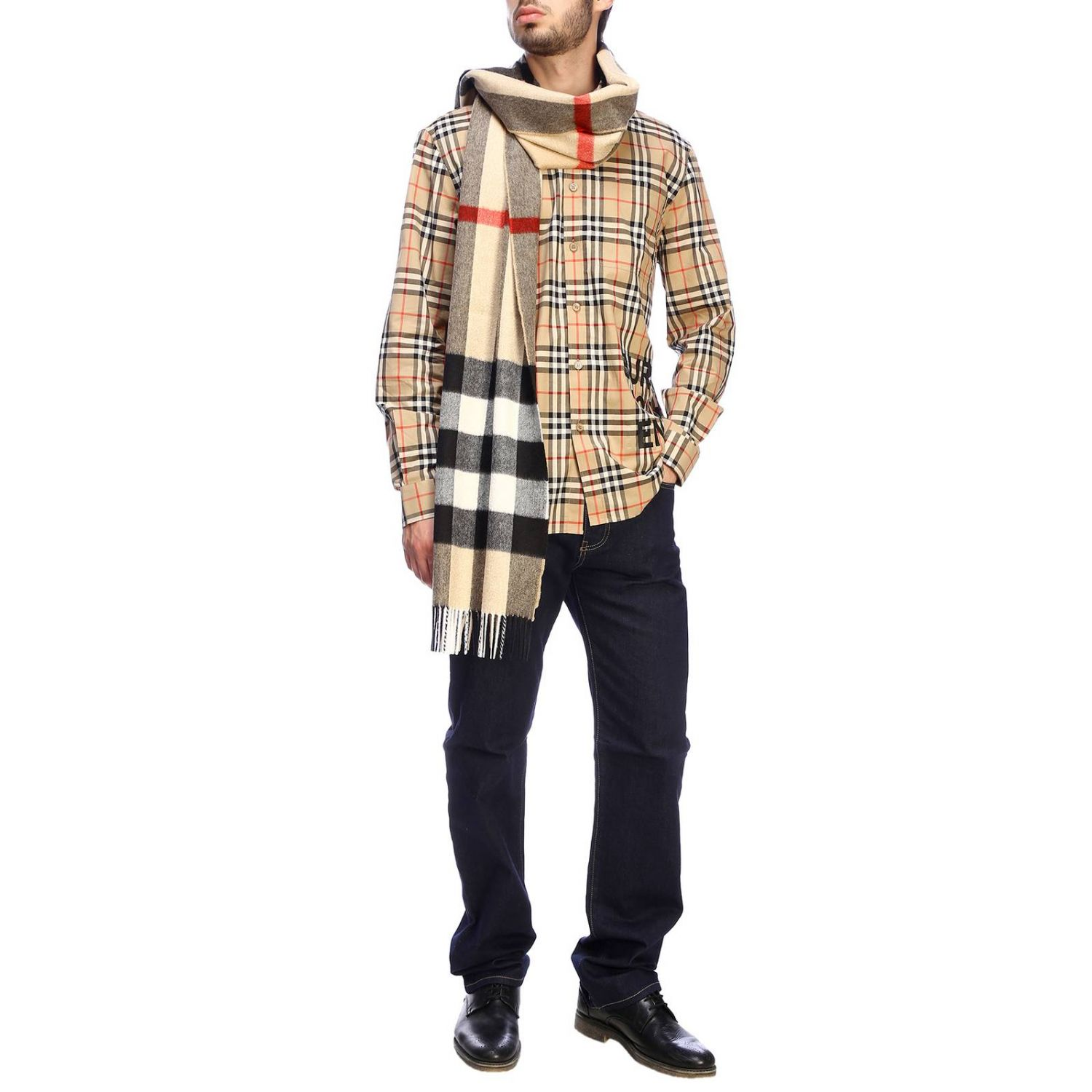 Burberry check shirt with logo print beige 2