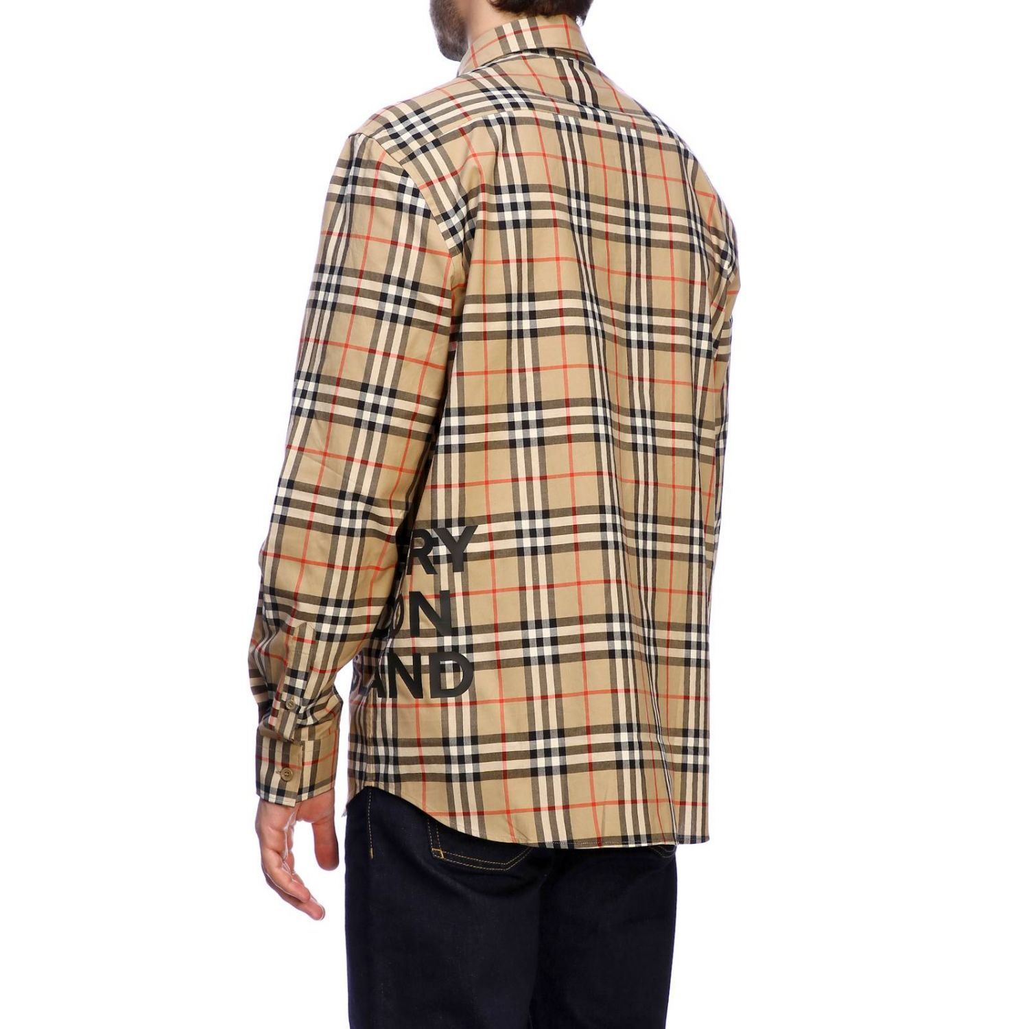 Burberry check shirt with logo print beige 3