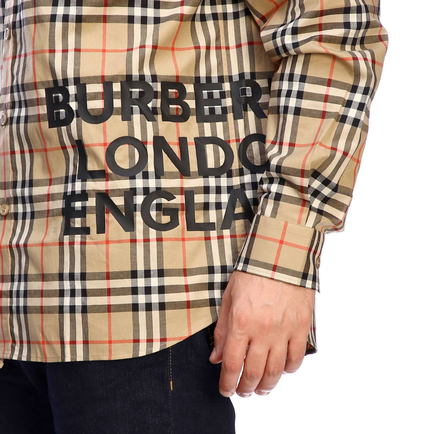 Burberry check shirt with logo print beige 4