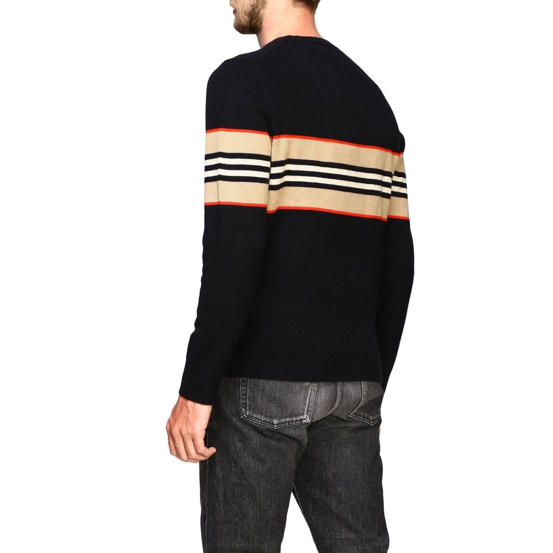 Burberry 条纹印花羊绒圆领毛衣 黑色 3