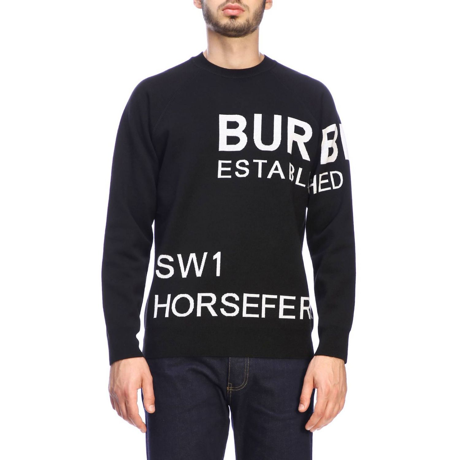 Burberry crewneck sweater with logo black 1