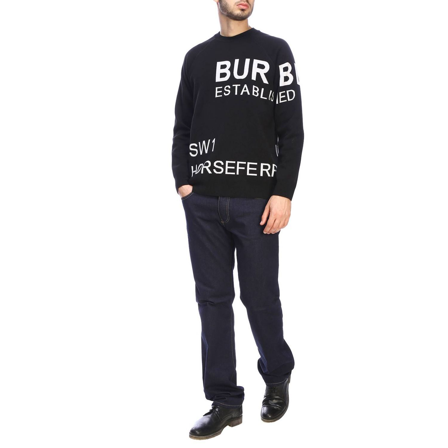 Burberry crewneck sweater with logo black 2