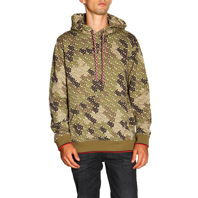 Sweat Burberry avec capuche fantaisie camouflage avec logo TB all over vert militaire 1