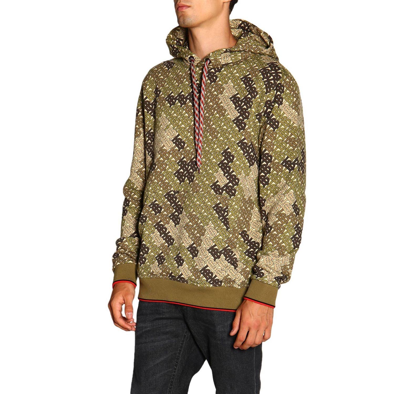 Sweat Burberry avec capuche fantaisie camouflage avec logo TB all over vert militaire 4