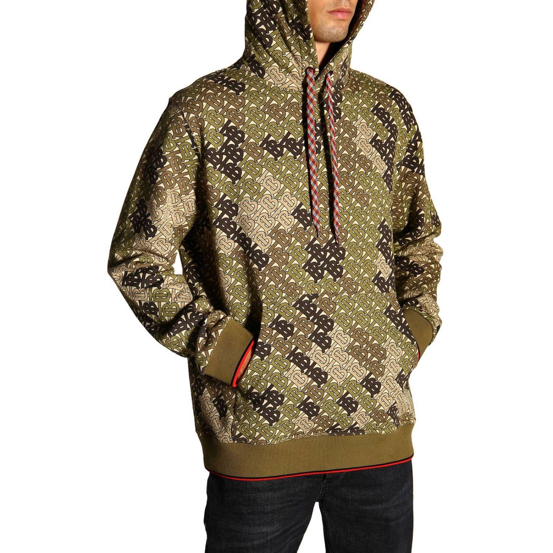 Sweat Burberry avec capuche fantaisie camouflage avec logo TB all over vert militaire 5