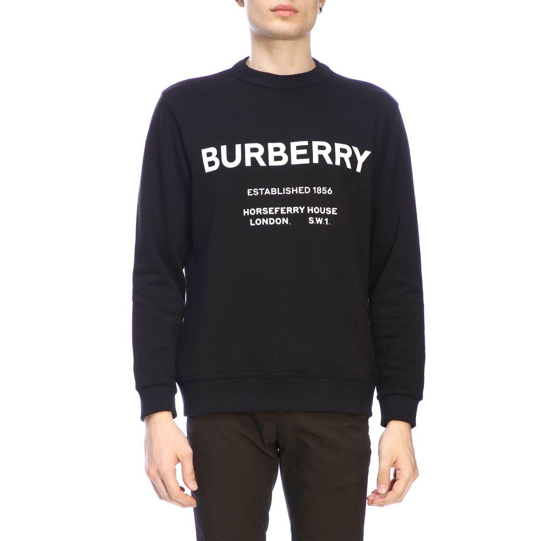 Jumper Burberry: Crewneck sweatshirt with Burberry lettering black 1