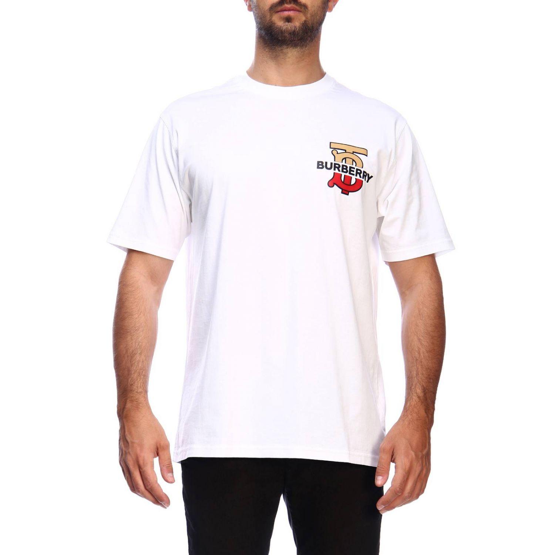 T-shirt a girocollo con maxi logo tb Burberry stampato bianco 1