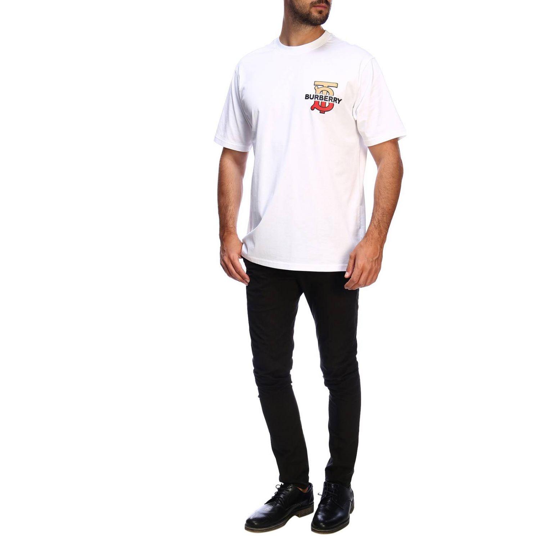 T-shirt a girocollo con maxi logo tb Burberry stampato bianco 2