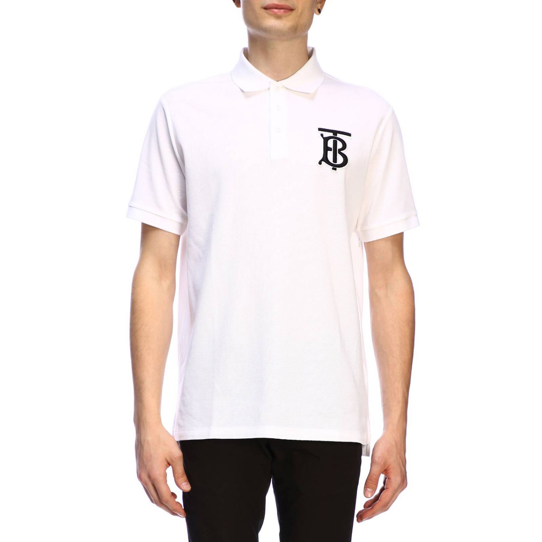 T-shirt Burberry: Polo basic a maniche corte con ricamo TB Burberry bianco 1