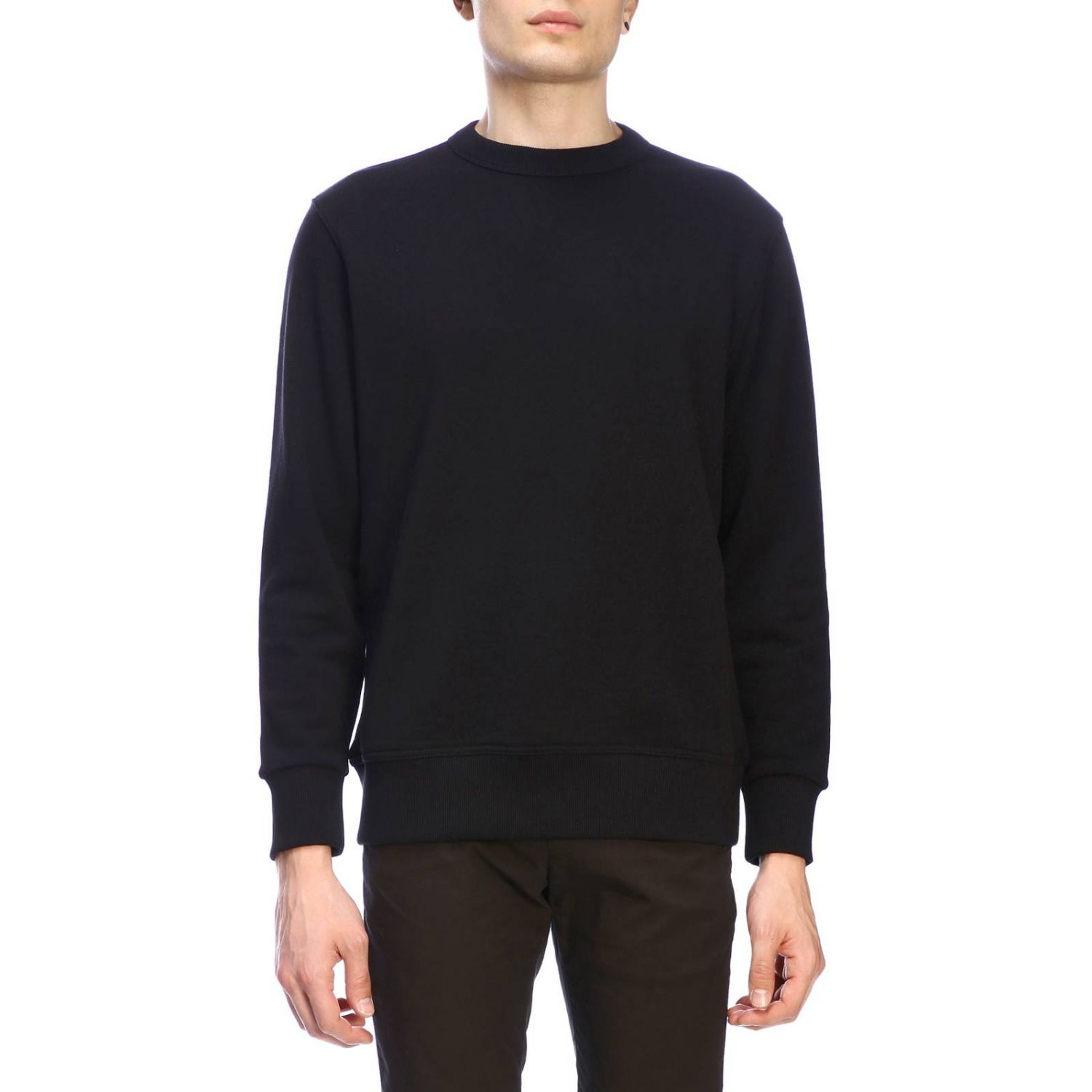 Crewneck sweatshirt with maxi back Burberry lettering and zip black 1