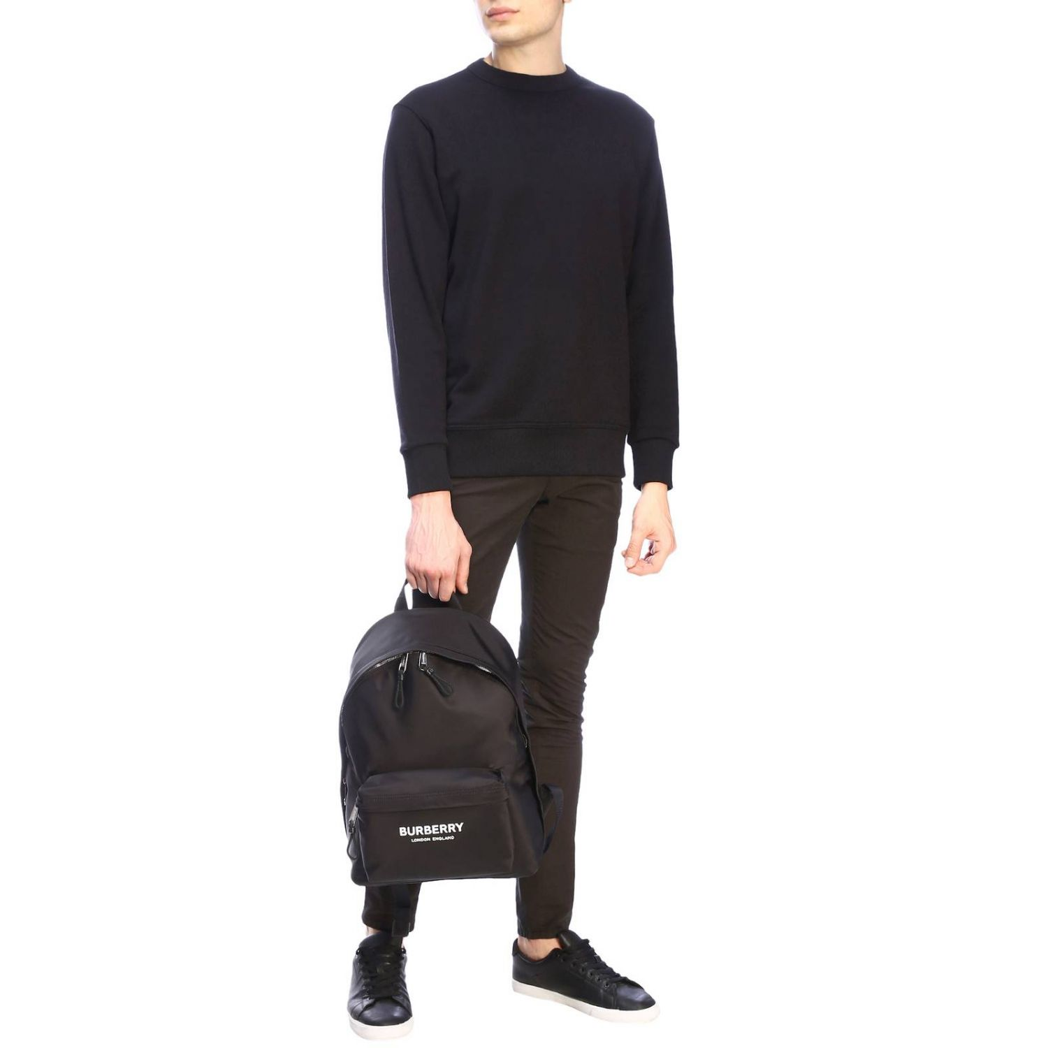 Crewneck sweatshirt with maxi back Burberry lettering and zip black 2
