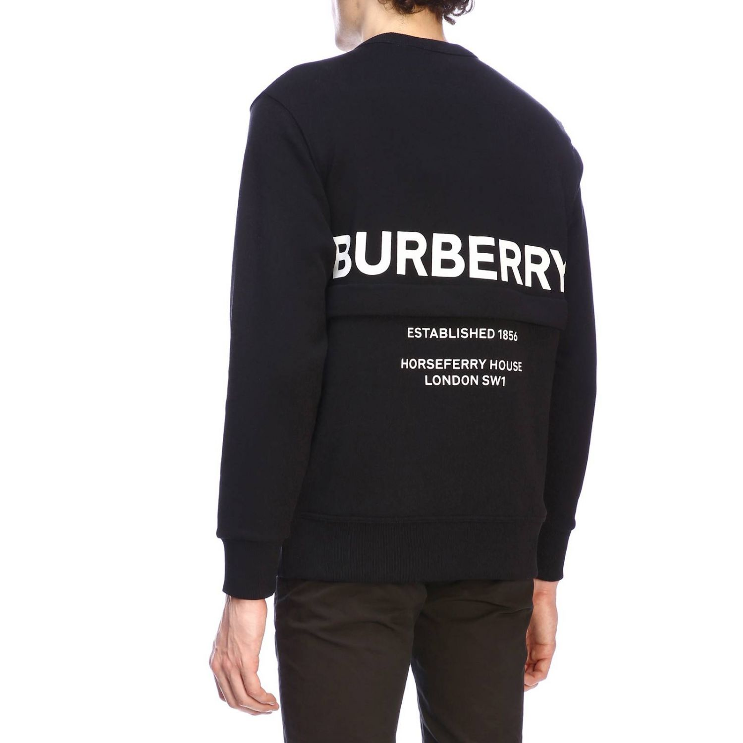 Crewneck sweatshirt with maxi back Burberry lettering and zip black 3