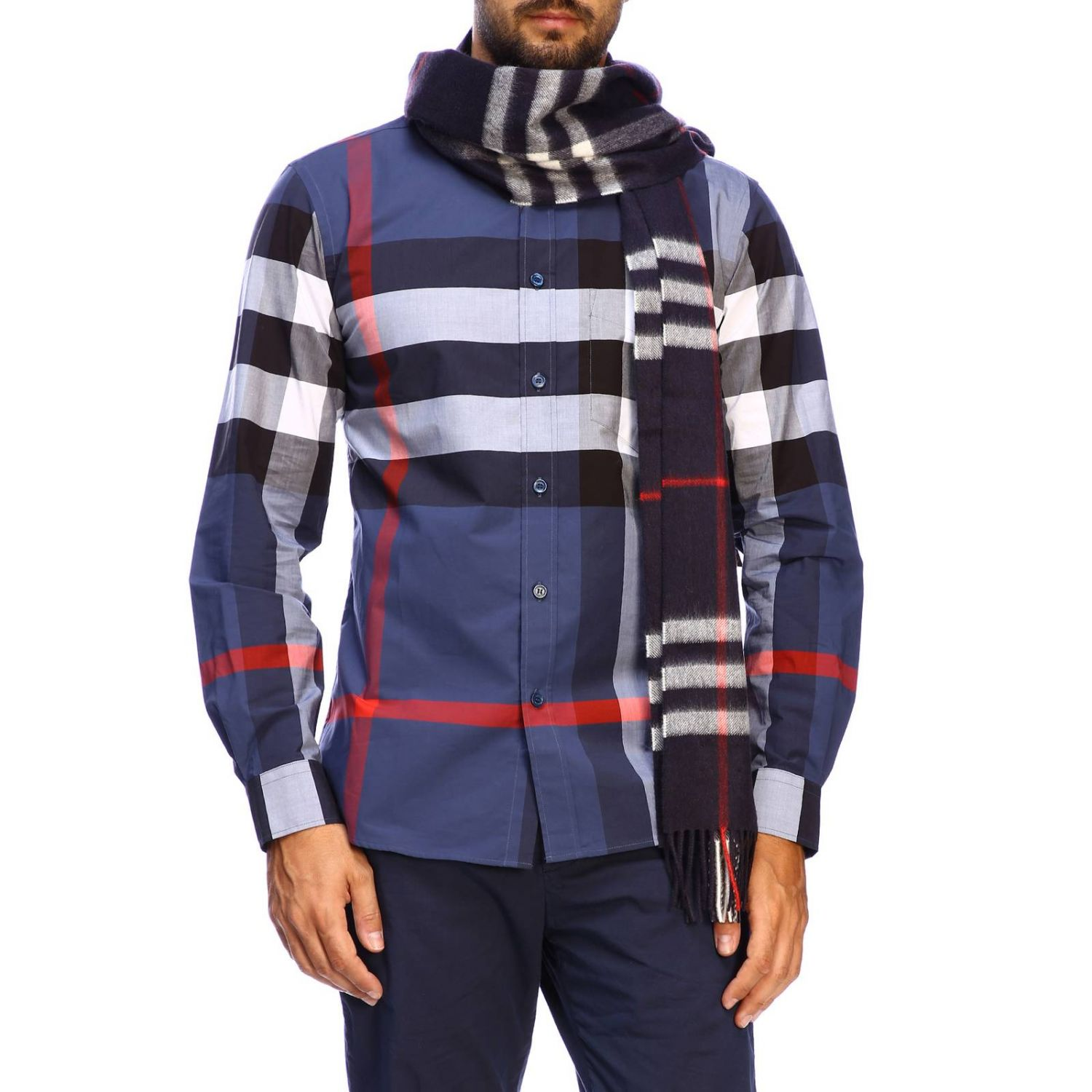 Sciarpa Burberry Giant check in cashmere blue 1