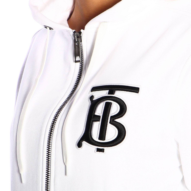 Felpa Aubree Burberry con cappuccio e zip con logo TB bianco 4