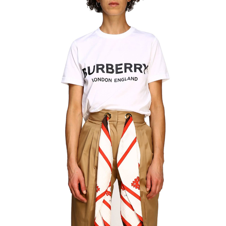 T-shirt con maxi logo Burberry bianco 1