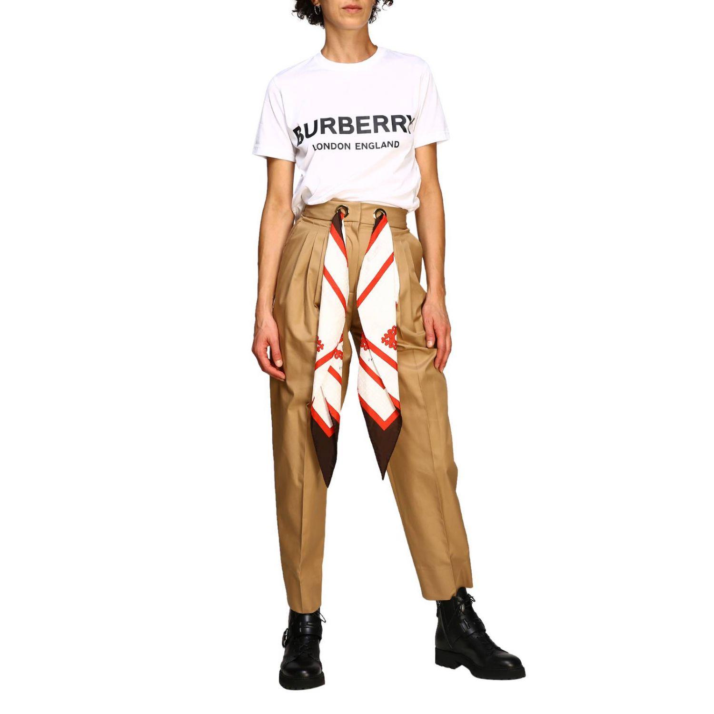T-shirt con maxi logo Burberry bianco 2