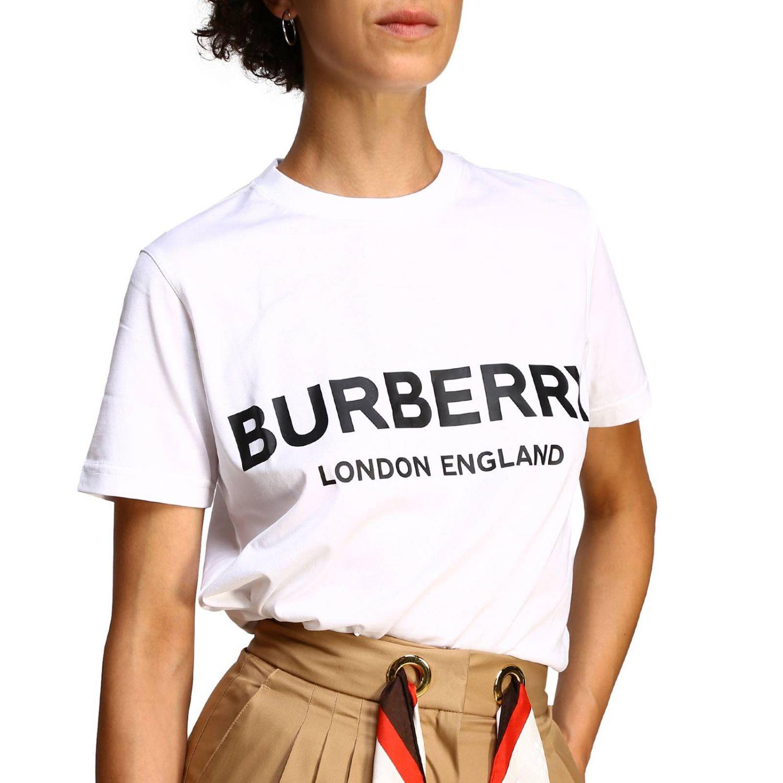 T-shirt con maxi logo Burberry bianco 5