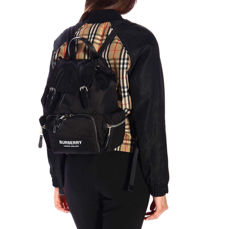 Medium Rucksack aus Nylon mit Burberry Aufdruck schwarz 2