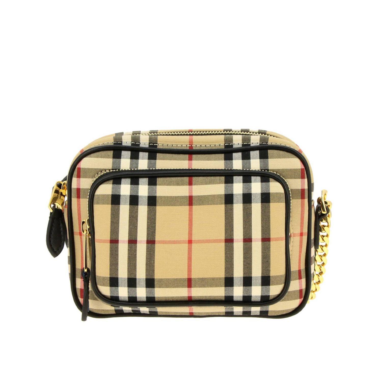 Borsa Camera bag Burberry in tessuto check e pelle beige 1