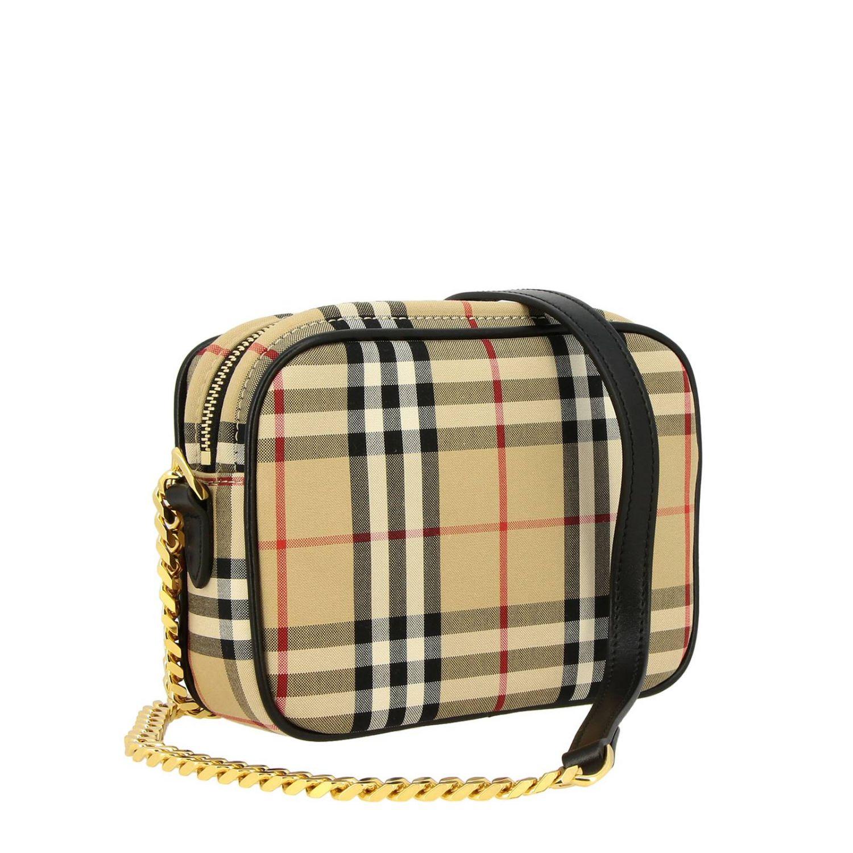 Borsa Camera bag Burberry in tessuto check e pelle beige 3