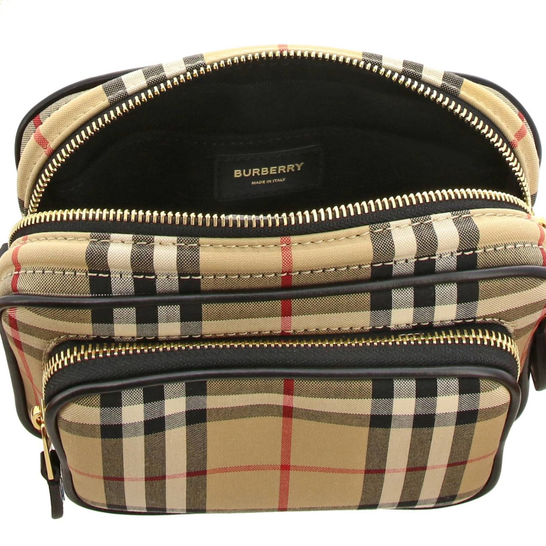 Borsa Camera bag Burberry in tessuto check e pelle beige 5