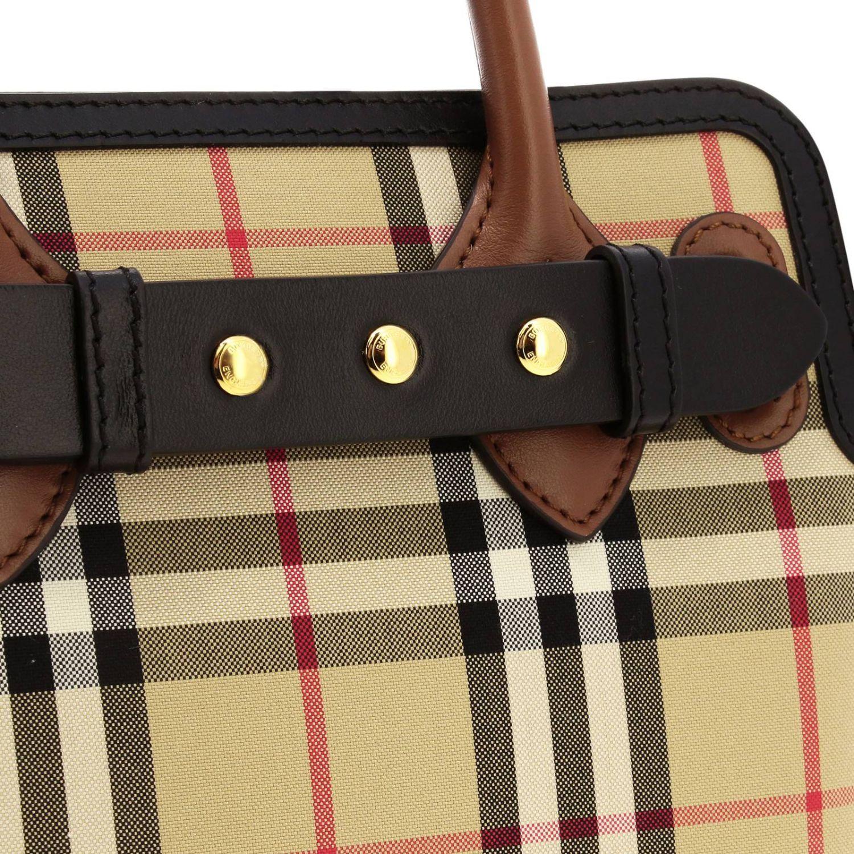 Burberry Baby Gürteltasche aus kariertem Stoff und Leder beige 4