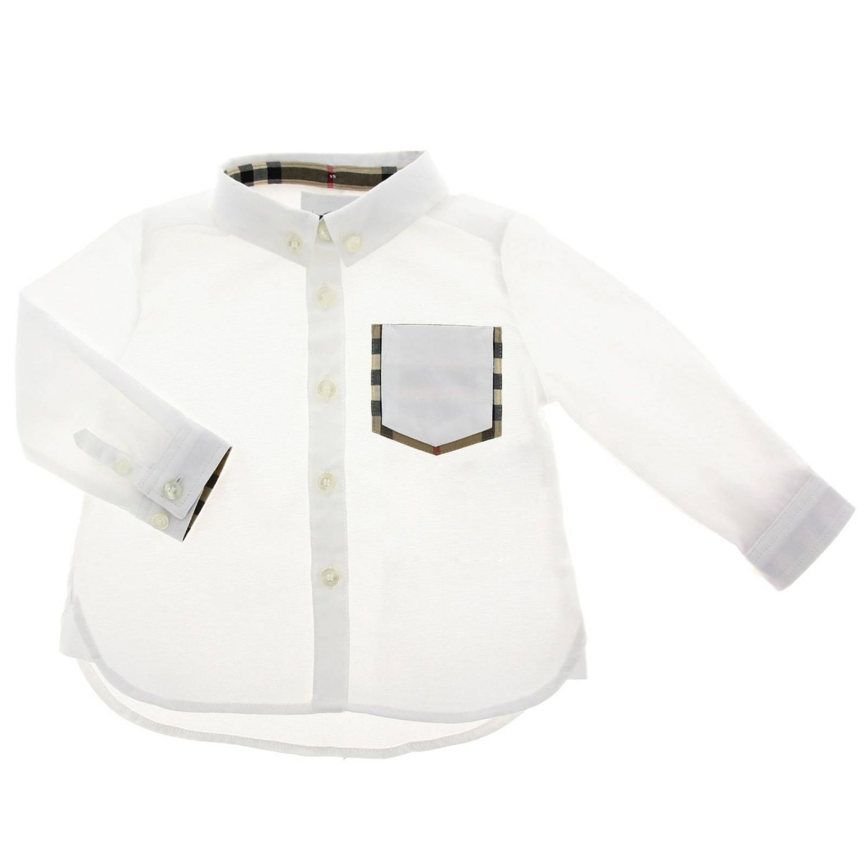 Camicia con collo button down e interni check Burberry bianco 1