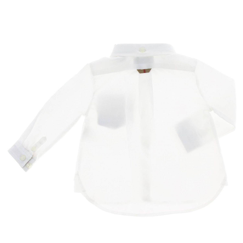 Camicia con collo button down e interni check Burberry bianco 2