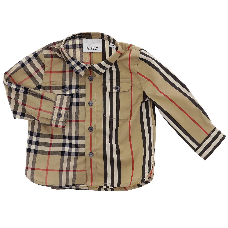 Camicia classic check e righe Burberry Infant beige 1