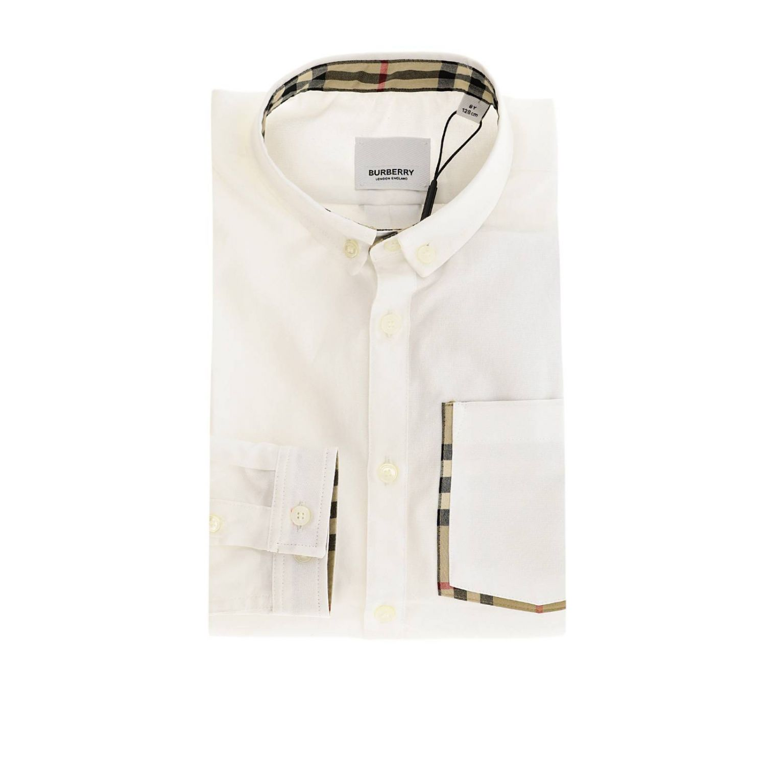 Camicia con collo button down e interni check Burberry bianco 1