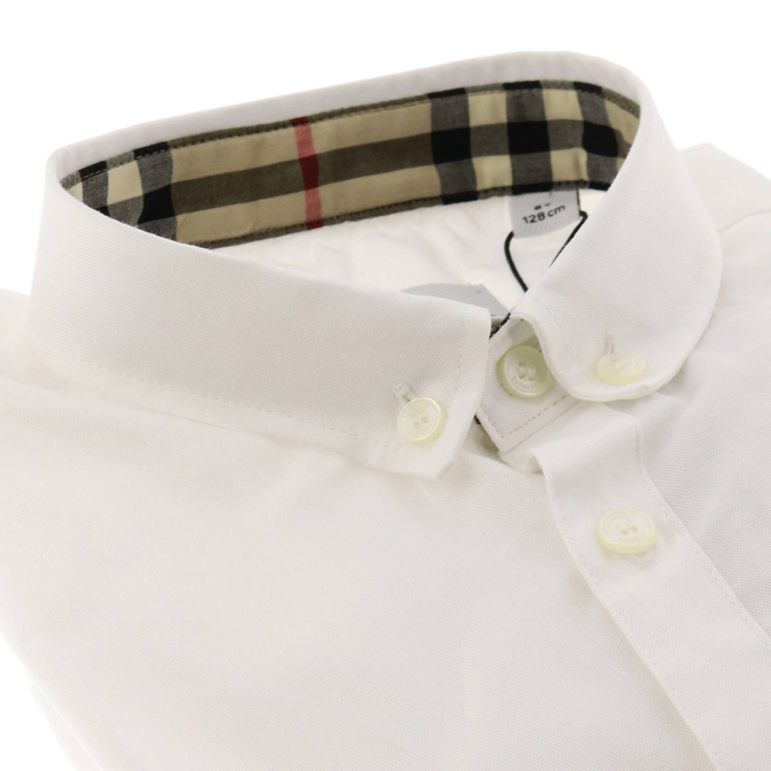 Camicia con collo button down e interni check Burberry bianco 2