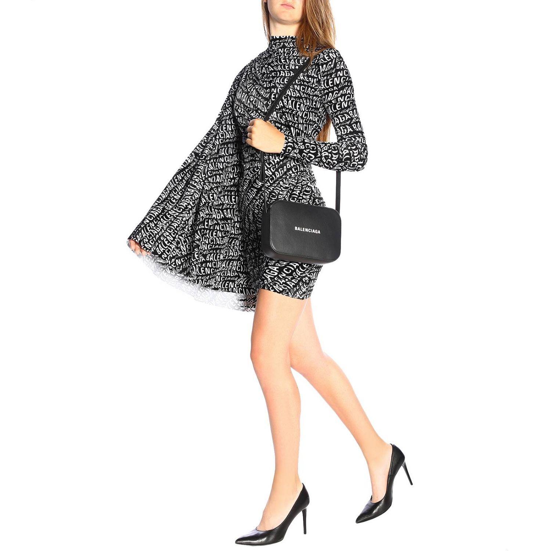 Dress Balenciaga: Balenciaga high-neck dress in velvet with all-over print and wide sleeves black 2